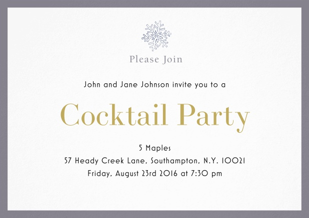Cocktail party invitation card with snow flake and colorful frame. Grey.