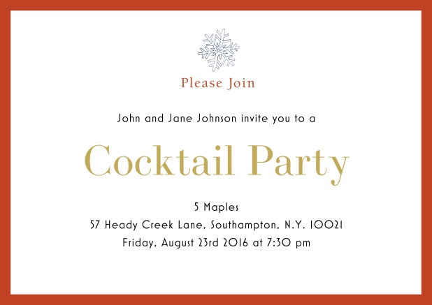 Online Cocktail party invitation card with snow flake and colorful frame. Orange.