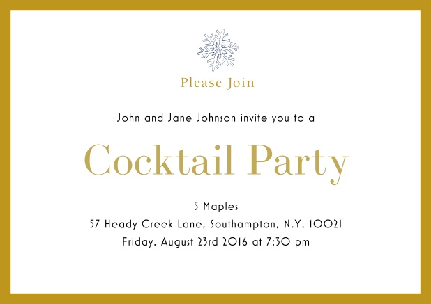 Online Cocktail party invitation card with snow flake and colorful frame. Yellow.