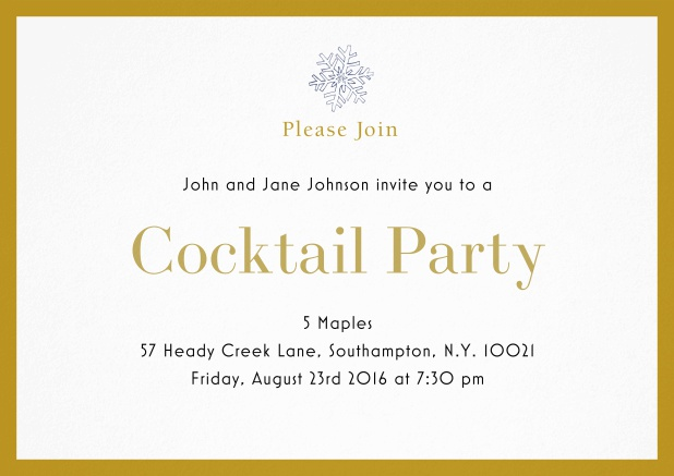 Cocktail party invitation card with snow flake and colorful frame. Yellow.