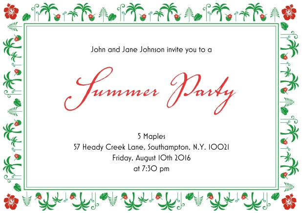Online Summer party invitation card with palm trees and hibiscus frame.