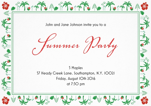 Summer party invitation card with palm trees and hibiscus frame.