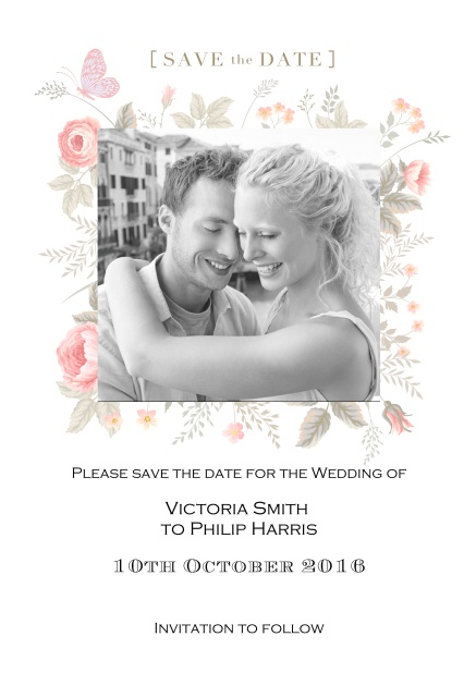 Online save the date for weddings or other celebrations with photo and colorful flowers.