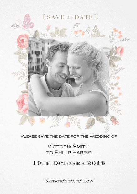 Save the date card for weddings or other celebrations with photo and colorful flowers.