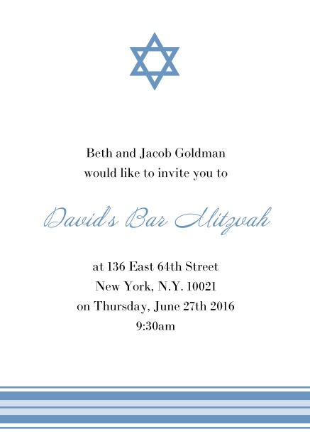 Online Bar or Bat Mitzvah Invitation card with photo and Star of David in choosable colors. Blue.