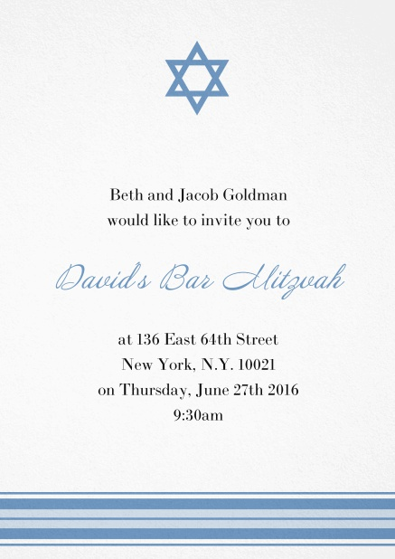 Bar or Bat Mitzvah Invitation card with photo and Star of David in choosable colors. Blue.