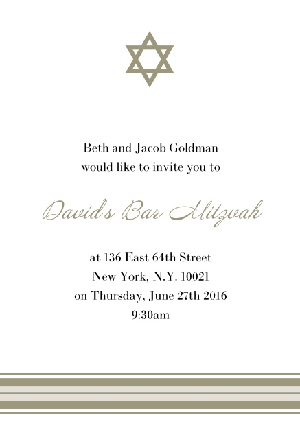 Online Bar or Bat Mitzvah Invitation card with photo and Star of David in choosable colors. Gold.