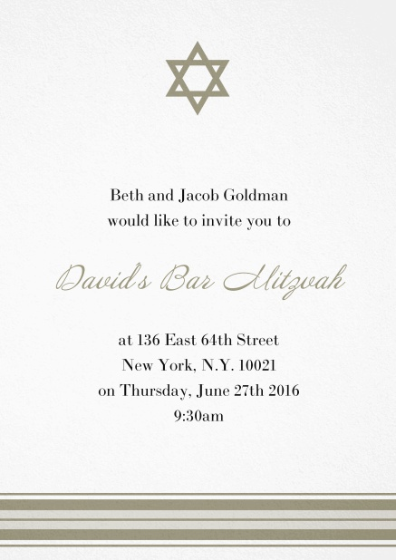 Bar or Bat Mitzvah Invitation card with photo and Star of David in choosable colors. Gold.
