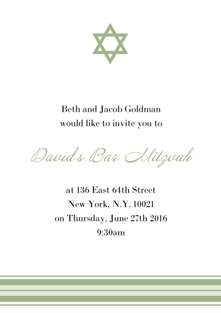 Online Bar or Bat Mitzvah Invitation card with photo and Star of David in choosable colors. Green.