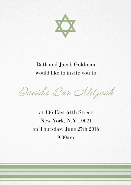 Bar or Bat Mitzvah Invitation card with photo and Star of David in choosable colors. Green.
