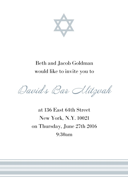 Online Bar or Bat Mitzvah Invitation card with photo and Star of David in choosable colors. Grey.