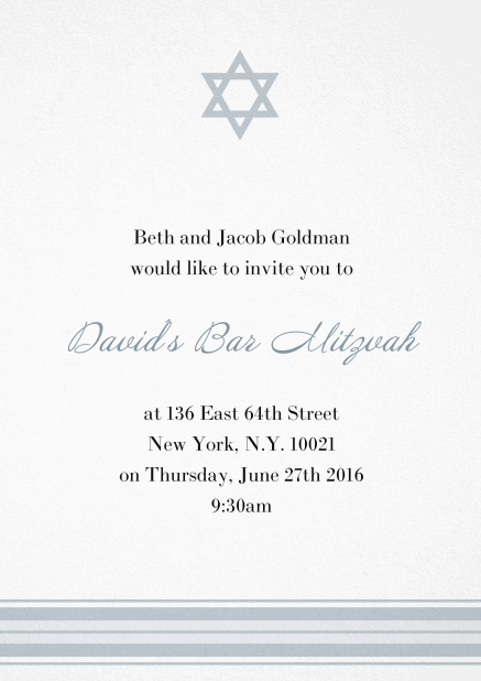 Bar or Bat Mitzvah Invitation card with photo and Star of David in choosable colors. Grey.