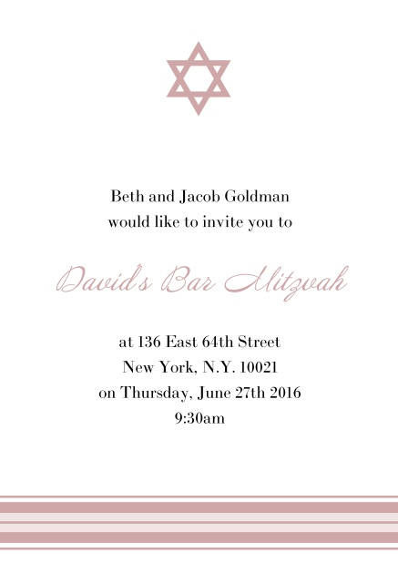 Online Bar or Bat Mitzvah Invitation card with photo and Star of David in choosable colors. Pink.