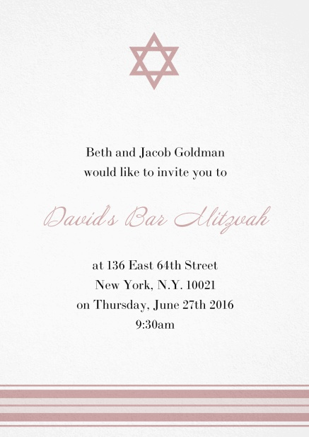 Bar or Bat Mitzvah Invitation card with photo and Star of David in choosable colors. Pink.