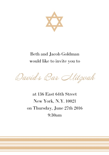 Online Bar or Bat Mitzvah Invitation card with photo and Star of David in choosable colors. Yellow.