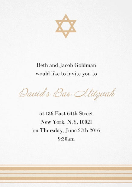 Bar or Bat Mitzvah Invitation card with photo and Star of David in choosable colors. Yellow.