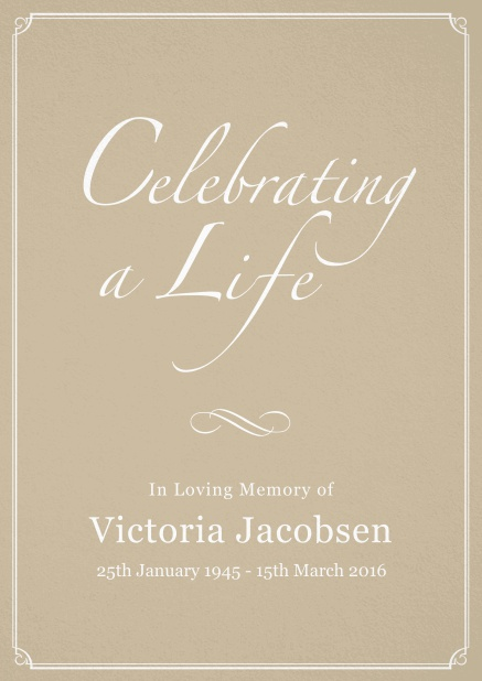 Memorial invitation card for celebrating a love one with photo, light frame and in various colors. Beige.
