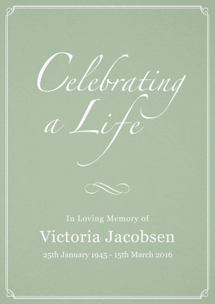 Memorial invitation card for celebrating a love one with photo, light frame and in various colors. Green.