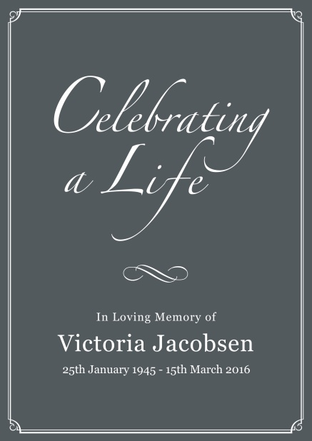 Online Memorial invitation card for celebrating a love one with photo, light frame and in various colors. Grey.