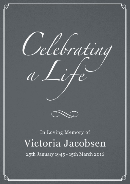 Memorial invitation card for celebrating a love one with photo, light frame and in various colors. Grey.