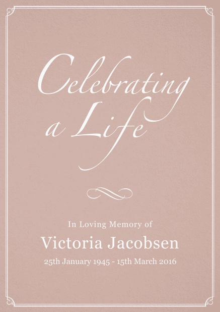Memorial invitation card for celebrating a love one with photo, light frame and in various colors. Pink.
