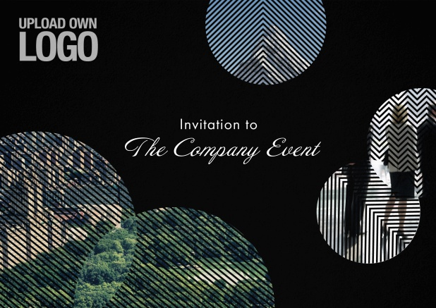 Corporate invitation card with round photo fields, own logo option and text field.