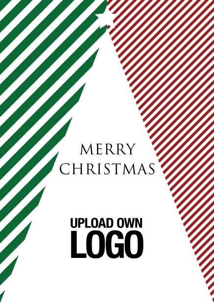 Online Corporate Christmas card with white Christmas tree in red and green design.