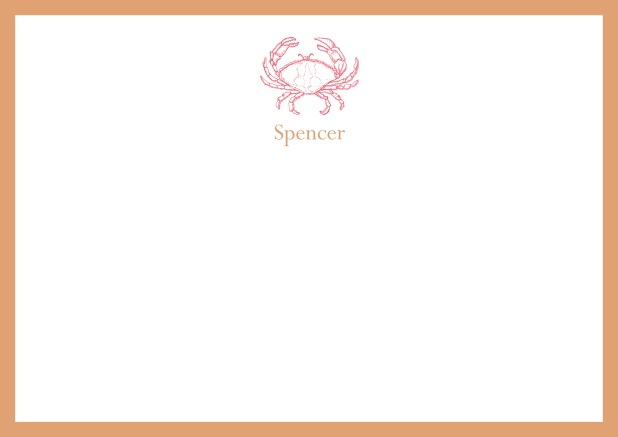 Personalizable online note card with illustrated crab and frame in various colors. Orange.
