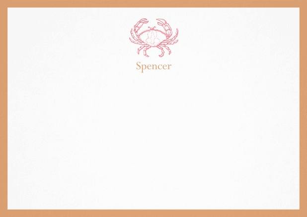 Personalizable note card with illustrated crab and frame in various colors. Orange.