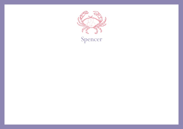 Personalizable online note card with illustrated crab and frame in various colors. Purple.