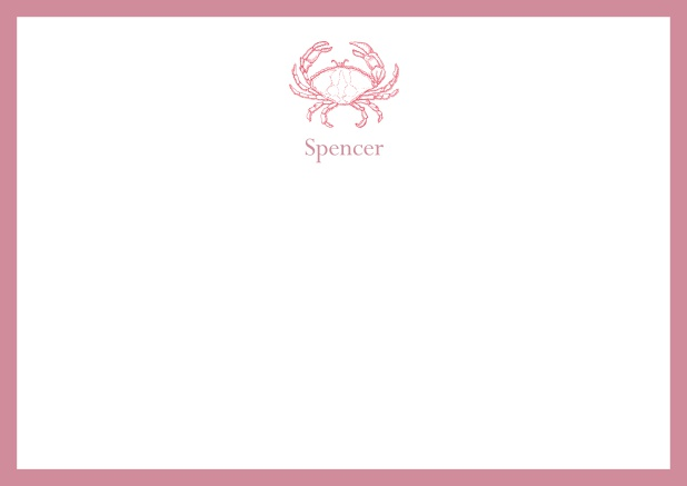 Personalizable online note card with illustrated crab and frame in various colors. Red.