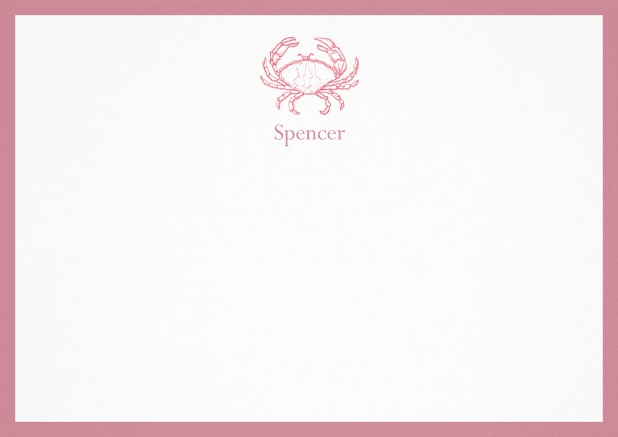 Personalizable note card with illustrated crab and frame in various colors. Red.