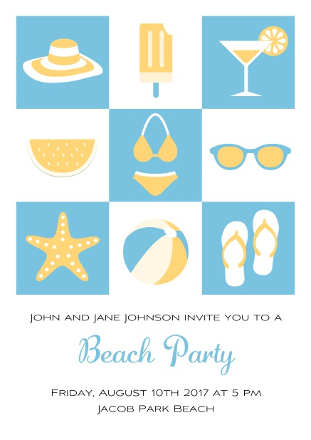 Pool party online invitation card with bikini, cocktail, flip flops, all you need. Blue.