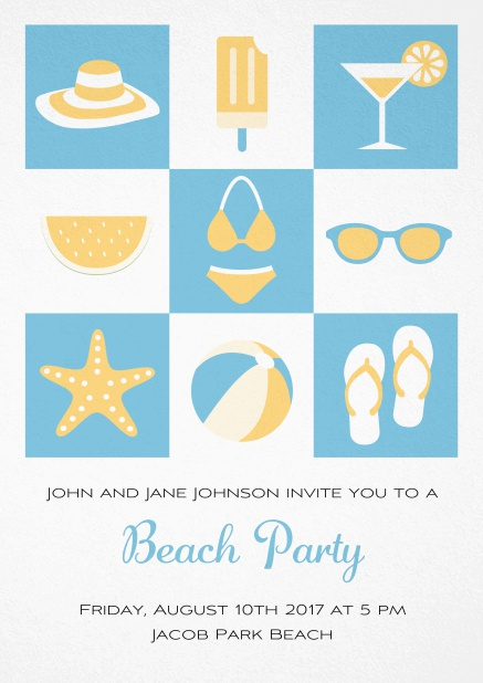 Pool party invitation card with bikini, cocktail, flip flops, all you need. Blue.