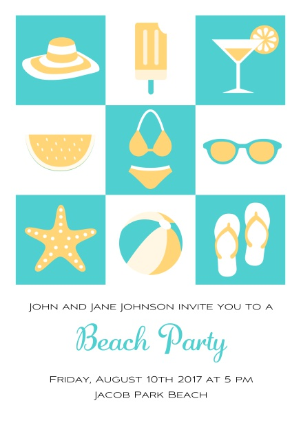 Pool party online invitation card with bikini, cocktail, flip flops, all you need. Green.