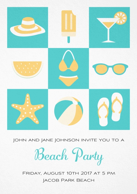 Pool party invitation card with bikini, cocktail, flip flops, all you need. Green.