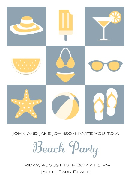 Pool party online invitation card with bikini, cocktail, flip flops, all you need. Grey.