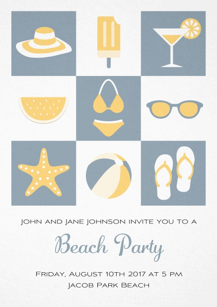 Pool party invitation card with bikini, cocktail, flip flops, all you need. Grey.