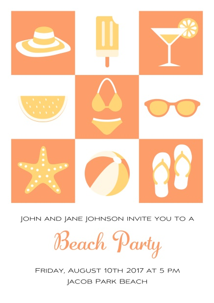 Pool party online invitation card with bikini, cocktail, flip flops, all you need. Orange.