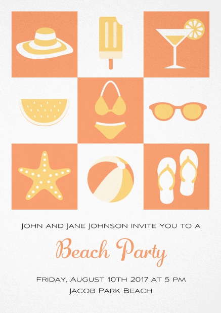 Pool party invitation card with bikini, cocktail, flip flops, all you need. Orange.