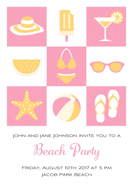 Pool party online invitation card with bikini, cocktail, flip flops, all you need. Pink.