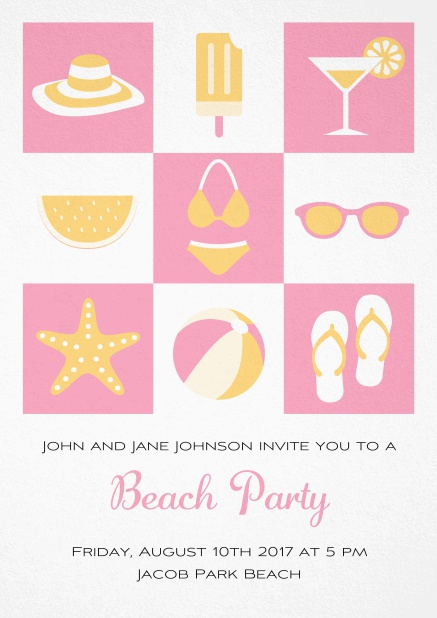 Pool party invitation card with bikini, cocktail, flip flops, all you need. Pink.
