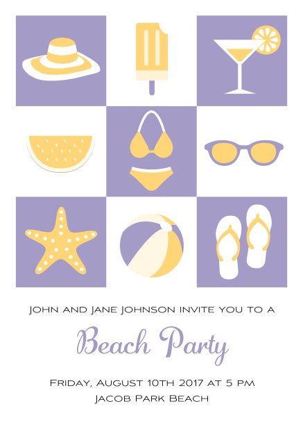 Pool party online invitation card with bikini, cocktail, flip flops, all you need. Purple.