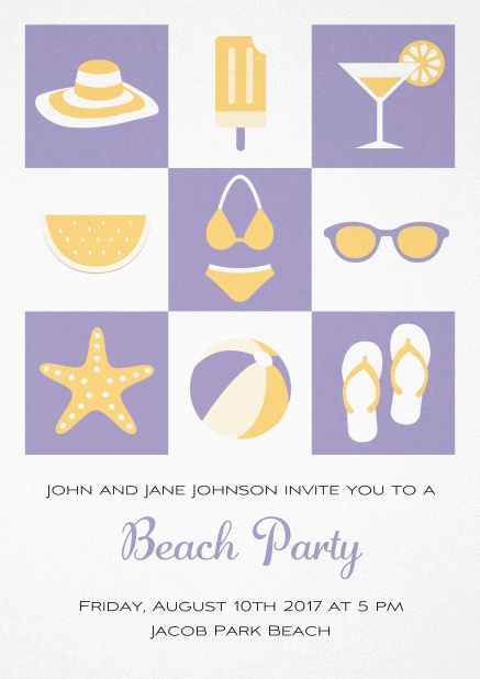 Pool party invitation card with bikini, cocktail, flip flops, all you need. Purple.