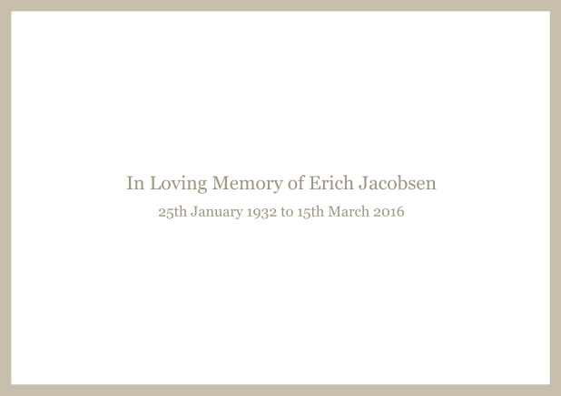Online Classic Memorial invitation card with black frame and famous quote. Beige.