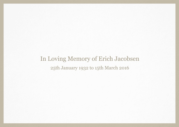 Classic Memorial invitation card with black frame and famous quote. Beige.
