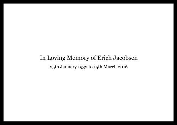 Online Classic Memorial invitation card with black frame and famous quote. Black.