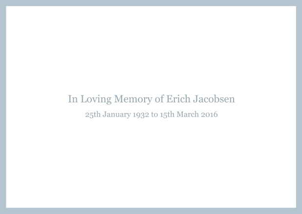 Online Classic Memorial invitation card with black frame and famous quote. Blue.