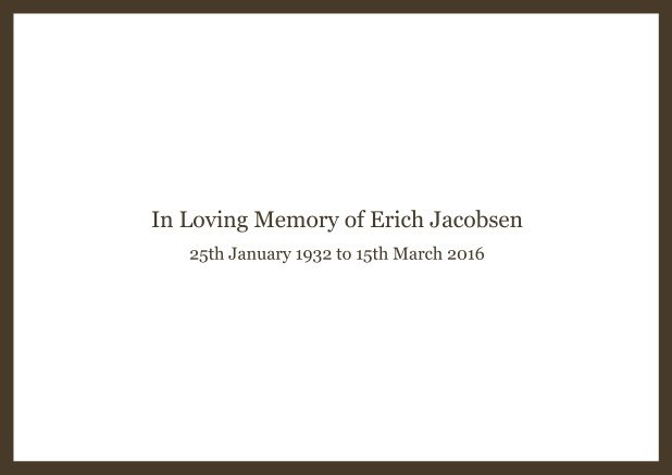 Online Classic Memorial invitation card with black frame and famous quote. Brown.