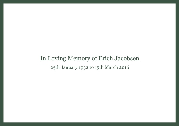 Online Classic Memorial invitation card with black frame and famous quote. Green.